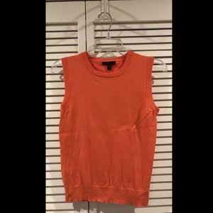 J. Crew Women's Orange Sleeveless Sweater Blouse T